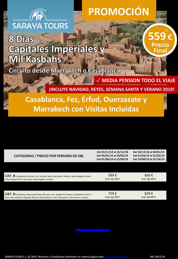 viajes a marruecos 8 dias capitales imperiales y mil kasbahs